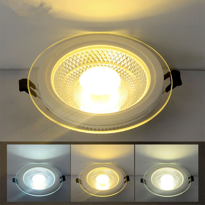 Free Shipping 25W Round/Square Glass LED Downlight Recessed COB LED Panel Light Spot Ceiling Down Light Warm/Natural/Cold White free shipping ip20 2 13w cut out 262 124mm 40degree citizen cob led grille down light