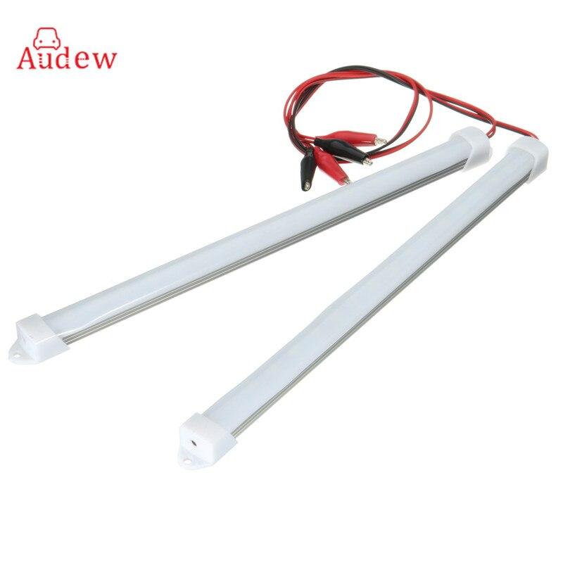 2Pcs  18 LED Strip Light 30CM 5630SMD Waterproof Hard Rigid Strip Cabinet Bar Light White LED Tube With Cover DC12V