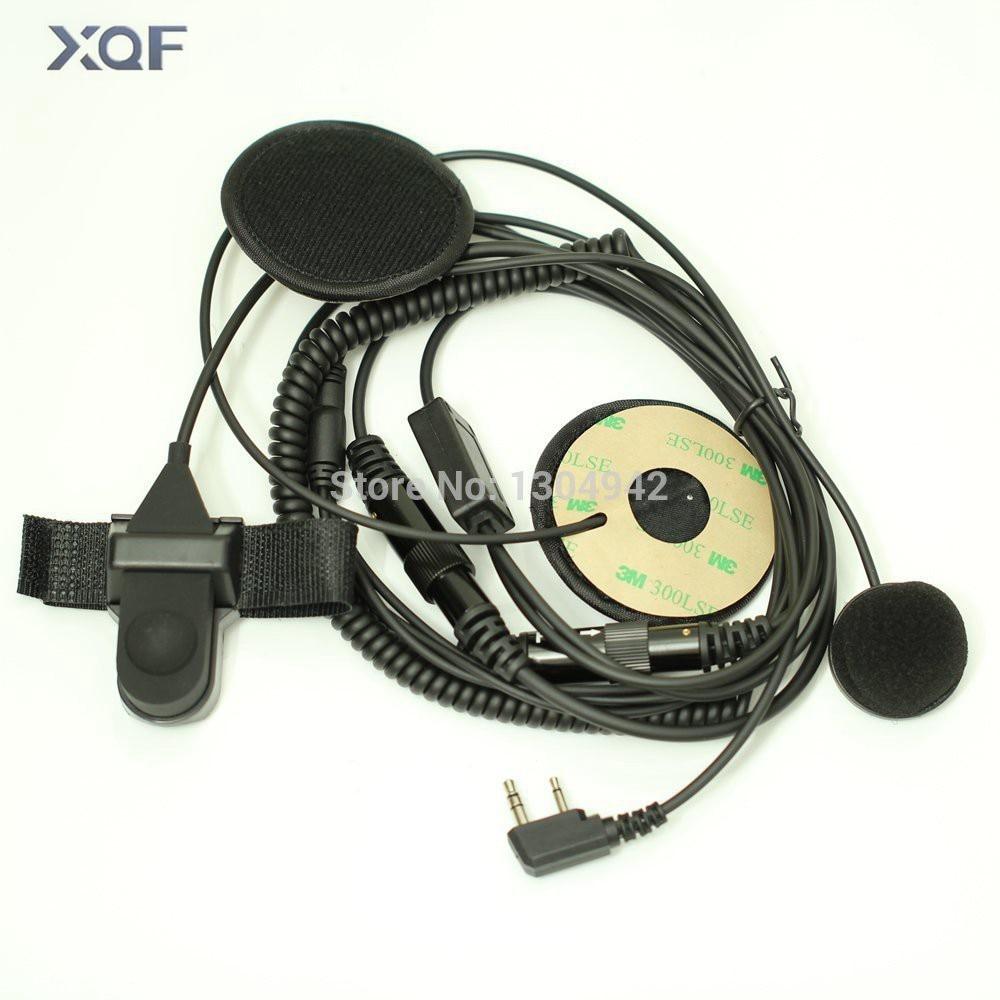 F Type Full Face Moto Motorcycle Bike Helmet Earpiece Headset Mic Microphone 2-pin For Icom Maxon Yaesu Vertex Radio