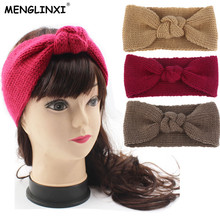 New Design Winter Warmer Ear Knitted Headband Woolen For Women Girls European Solid Turban Hair Band Head Wrap Lady