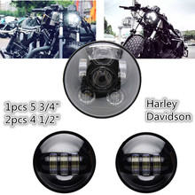 3 Pcs combination 5-3/4″ LED Auxiliary Spot Fog Passing Light Lamp & 4.5 Inch 4-1/2″ For Harley Motorcycle Front Head Light