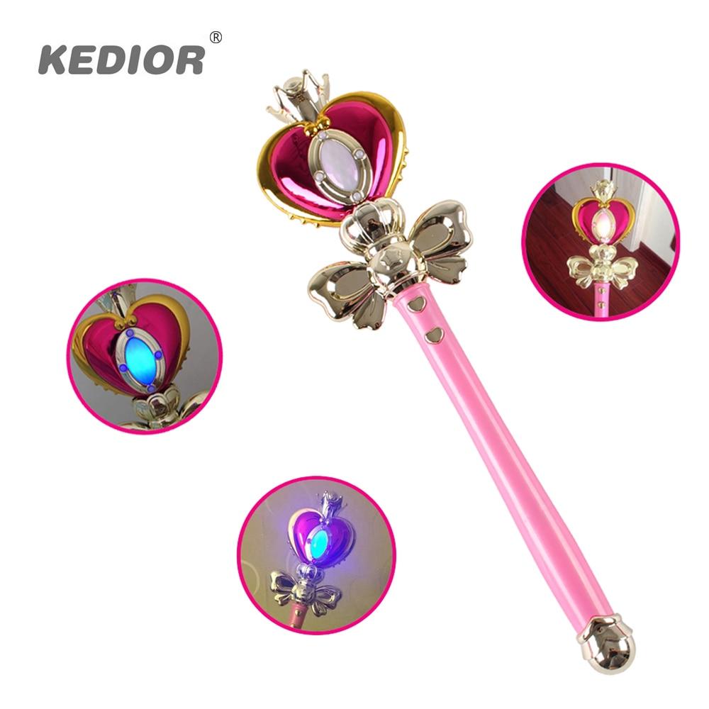 Hot Sale Girl Toys Anime Cosplay Sailor Moon Wand Henshin Rod Glow Stick Spiral Heart Moon Rod Musical Magic Wand