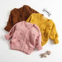 Baby Knit Cardigan Coat Autumn Girl Tops Newborn Cotton Solid Cute Hand made Sweater ball For Infant Clothes Outfits
