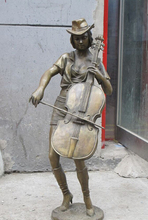 """Bi002255 29 """"Western ART Reine Bronze Skulptur belle glamour Schönheit violine player statue"""