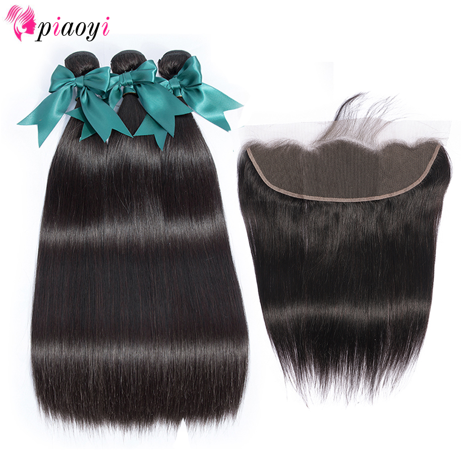 Piaoyi Peruvian Hair Weave Bundles With Frontal Silky Straight Bundles With 13 4 Remy Human Hair