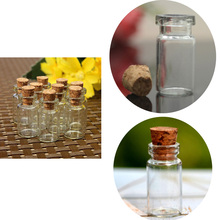 10 PCS 24*12mm Wedding Small Glass Wishing Bottles With Cork Mason Jar Empty Mini Bottle Jewelry Storage Jars