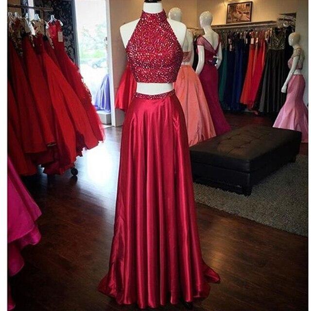 791d9c2146d Dresstells Burgundy 2 Piece Prom Dresses Halter Beaded A-line Formal Plus Size  Gowns Evening