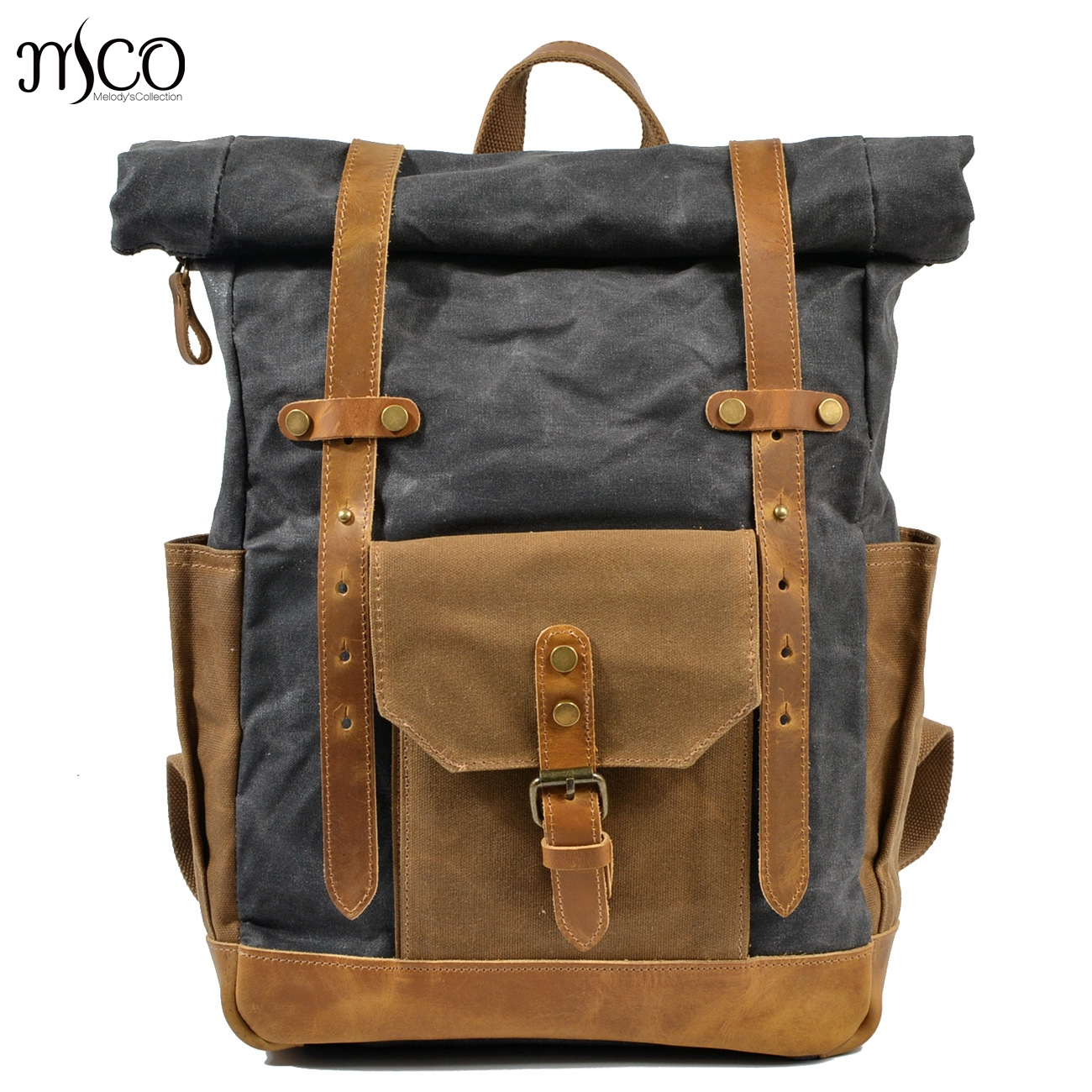 2018 Men Vintage Military Backpack Large Capacity Waterproof Oil Leather Wexed Canvas bags Travel Bag School Rucksack Backpack 2018 men vintage military backpack large capacity waterproof oil leather wexed canvas bags travel bag school rucksack backpack