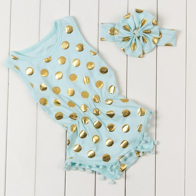2016 polka puntos de oro infantil mamelucos del bebé recién nacido bebé niñas pompón trajes lindos del niño embroma la ropa