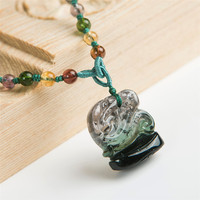 2018 New Arrival Genuine Green Natural Tourmaline Quartz Crystal Fashion Necklace Pendant Jewelry Making