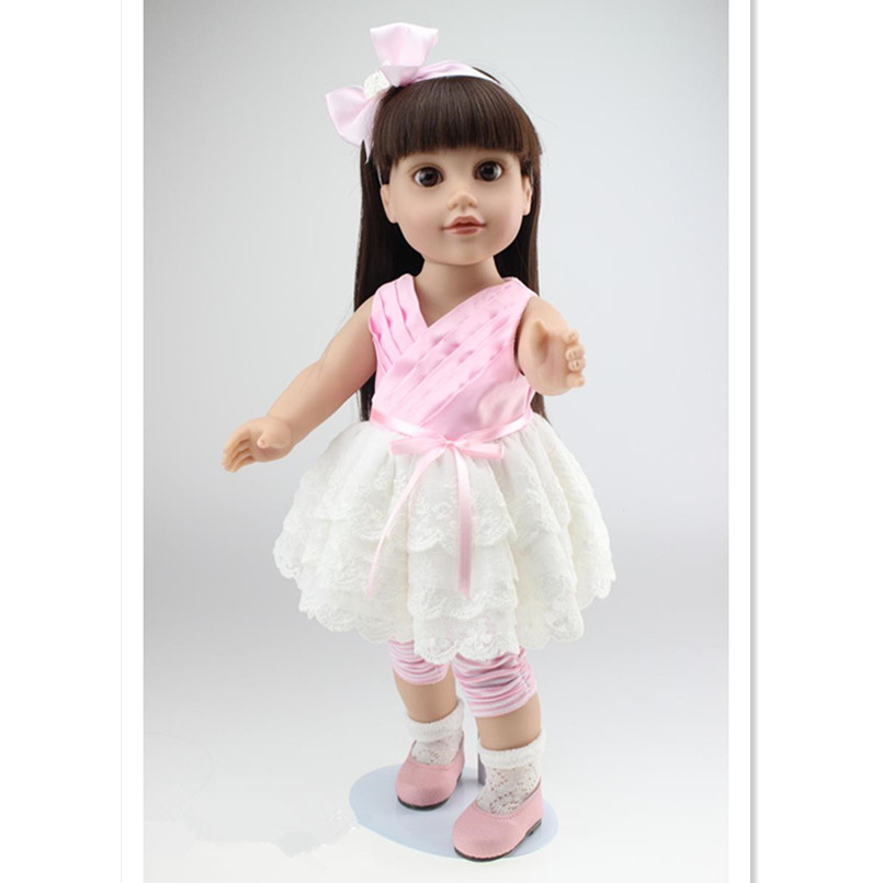 Fashion Princess Doll Girl Dolls 45 cm/18 Inch, Silicone Cloth Material Doll Toys for Children Birthday Gift Free Shipping novelty 18 inch 45 cm soft american girl dolls princess doll with dress cute lifelike baby toys for children gift free shipping