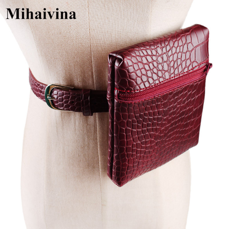 Mihaivina Crocodile Waist Bag Women Waist Pack Bags Leather Belt Bag Fashion Alligator Envelope Mini Zipper Coin Purse Wholesale