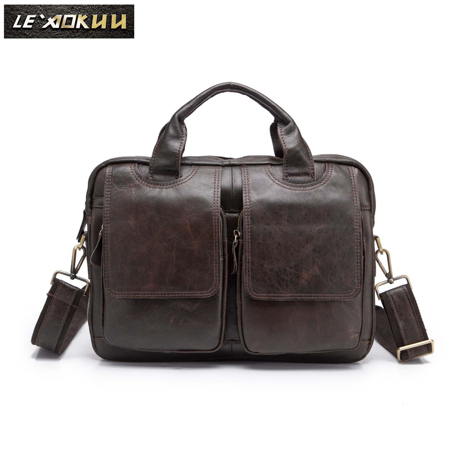 Hot Sale Design Genuine Leather Coffee Casual Fashion Men Briefcase Business 14
