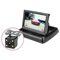 4 Lights External Reversing Camera 4.3 Inch Folding Display Rear View Reversing Camera HD Waterproof Car DVR Camera