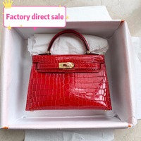 Top crocodile 100% Real Leather handbags Genuine leather Designer Luxury Brand fashion Women's bags 19CM Special Offer