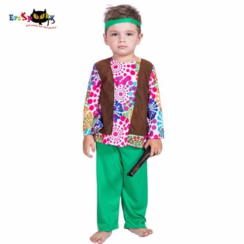 Eraspooky 5-6T Retro 70s Hippies Cosplay Love and Peace Halloween costume for kids Boys Carnival Party Fancy Dress T shirt Pants