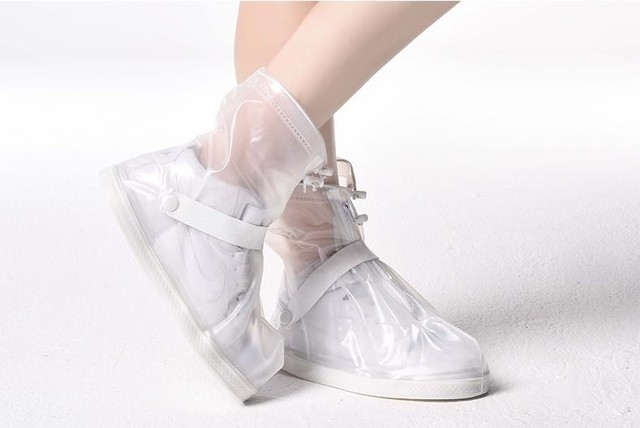 79cb7cab431d7 Black and Transparent Reusable Rain Shoe Covers Women and Men Unisex  Fashion Waterproof Overshoes Anti-slip