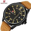 Los nuevos Hombres Relojes de Marca de Lujo de Los Hombres Ocasional Militar Del Ejército de Pulsera NAVIFORCE Fecha Día reloj de Cuarzo Correa de Cuero Reloj Deportivo Masculino reloj