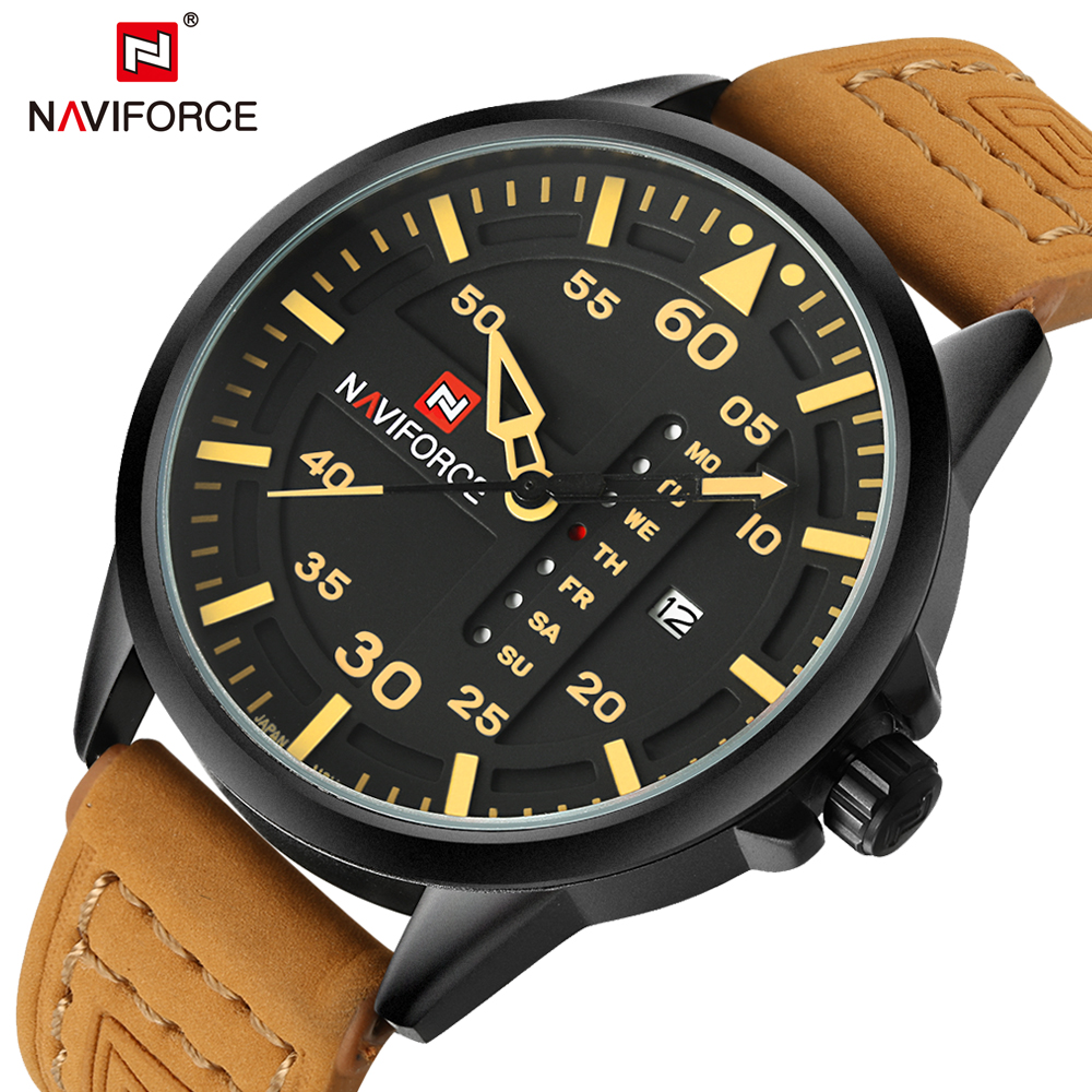 New Men Watches Luxury Brand Men Casual Army Military Wrist Watch Day Date Leather Strap Quartz Sport Watch Male NAVIFORCE Clock 2017 xinew brand luxury men s watch aviator white automatic mechanical date day leather band quartz wrist watch military clock