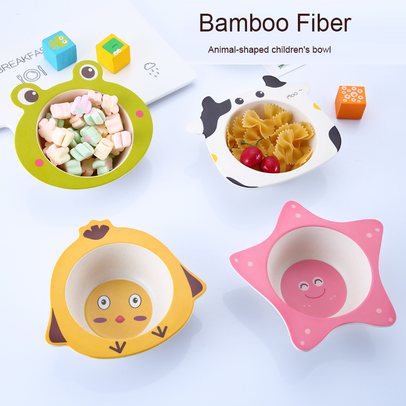 Natural Bamboo Fiber Baby Bowls Cartoon Children Feeding Plate Infant Toddler Fruit Snack Dishes Cute Kids Tableware
