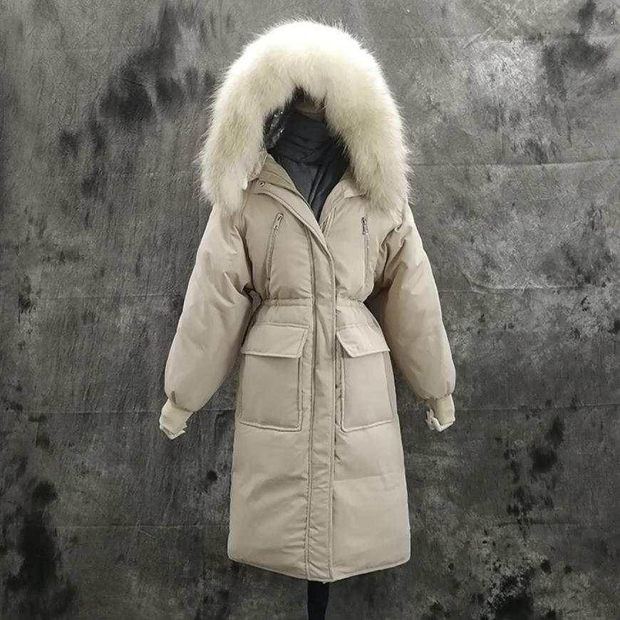 Winter fashion brand big real raccoon fur collar duck   down     coat   female was thin hooded longer warm   down   parkas fit -25 wq614