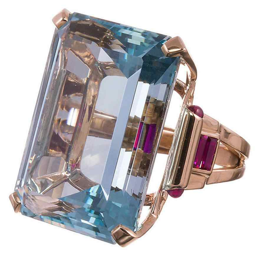 New Spar Ring Wedding Aneis Cut Blue Rose Gold For Lovers Ring Jewelry Accessories Gorgeous Valentine's Gift Cameo Rings Anillos