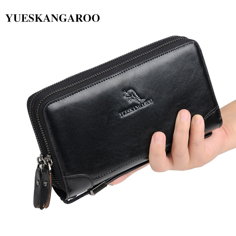YUES KANGAROO Luxury Brand Man Wallets Leather Men Clutch Bag With Coin Pocket Zipper Male Purse Card Holder Leather Long Wallet