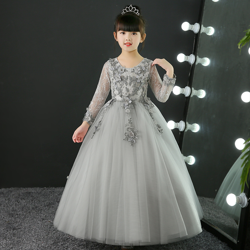2017 New Hot-Sales Children Girls Elegant Luxury Grey Color Embroidery Flowers Lace Princess Birthday Wedding Party Long Dress a three dimensional embroidery of flowers trees and fruits chinese embroidery handmade art design book