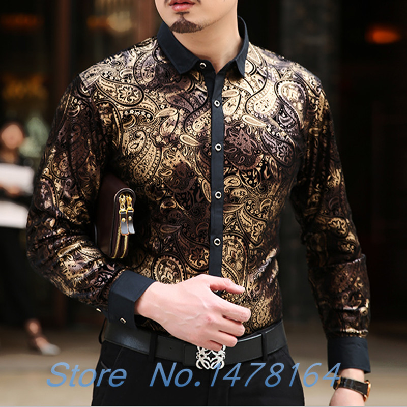 Formal Mens Chemise Homme Silk Black Golden Print Leopard Shirts Luxury Tops New