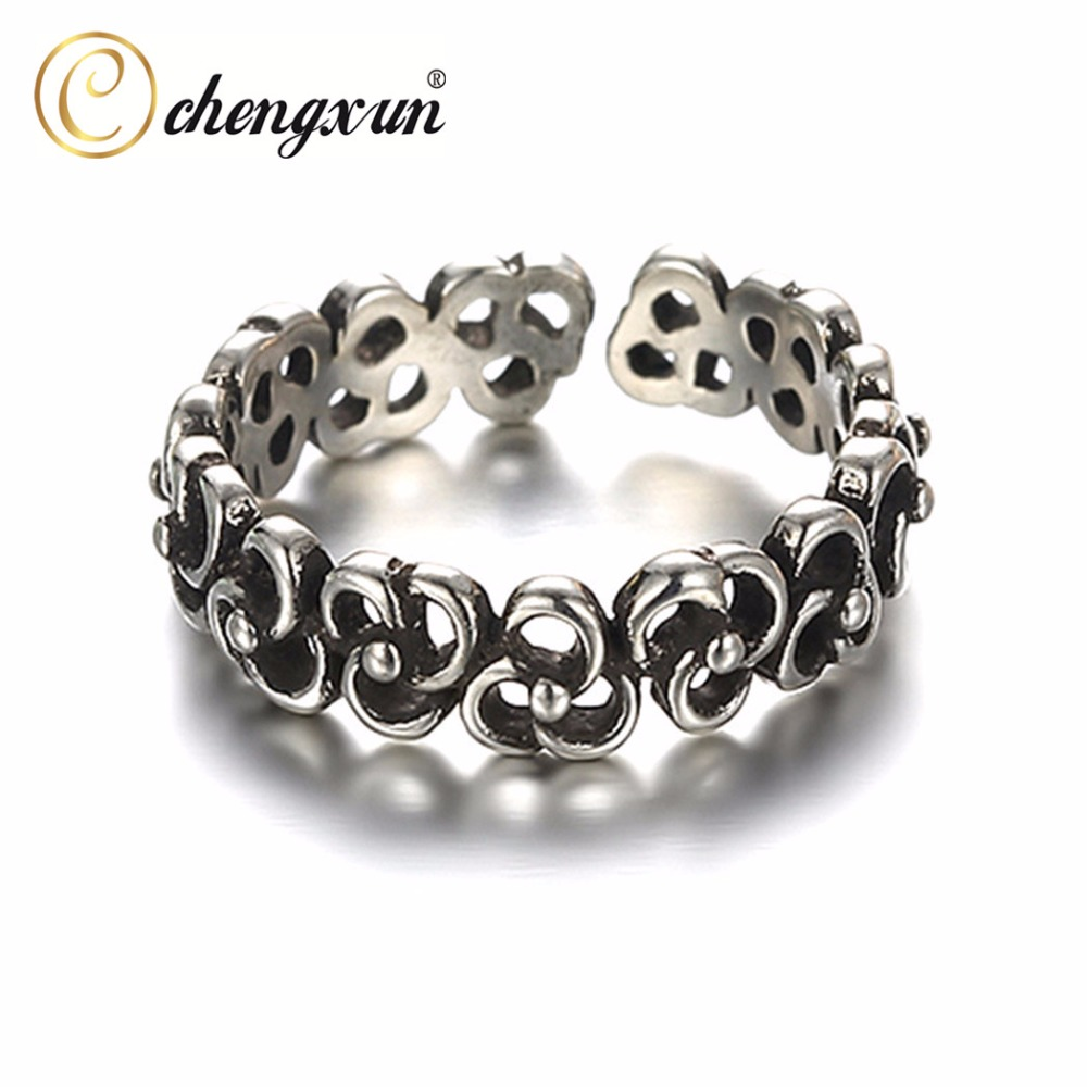 Chengxun Black Color Opening Rings 925 Sterling Silver Flower Knots Eternity Rings Fashion Punk Hollow Out U Pattern Jewelry