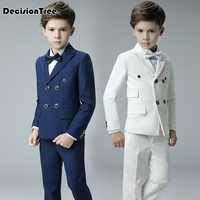 2019 new boys formal double breasted high quality blazer gentlemen's solid color lapel prom suit vest + shirt + pants for kid
