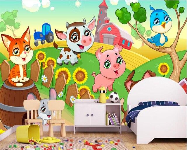 Dieren Behang Kinderkamer : Beibehang custom originele behang nordic eenvoudige cartoon dier
