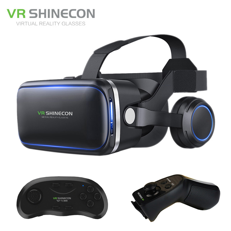 Shinecon VR 6.0 G04E Google Cardboard 3D Virtual Reality Glasses Headset Immersive Helmet Head Mount For 4-6' Phone + Gamepad hot 2018 original shinecon vr google cardboard vr box with headphone vr virtual reality 3d glasses for 4 7 6 0 inch phone