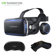 Shinecon VR 6.0 G04E Google Cardboard 3D Virtual Reality Glasses Headset Immersive Helmet Head Mount For 4-6′ Phone + Gamepad