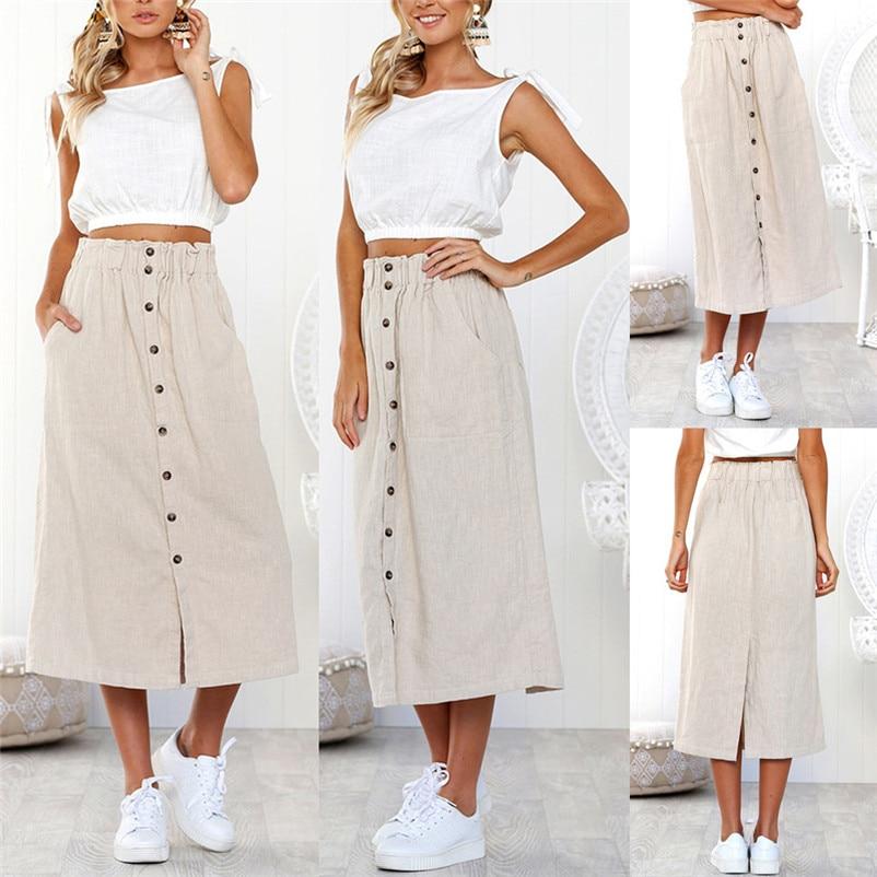 467a2039b Nueva moda 2018 verano estilo Faldas Mujer casual Bohemia alta cintura  línea botón playa abrigo Maxi Falda larga Mujer Saia y04