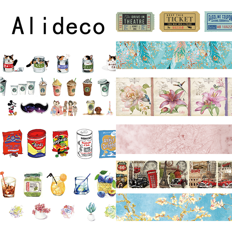Alideco 1 pcs Washi Masking Tapes Retro Coffee Flower Decorative Adhesive Scrapbooking DIY Paper Japanese Stickers  1.5cm*10m клип кейс ibox crystal для lg k7 прозрачный