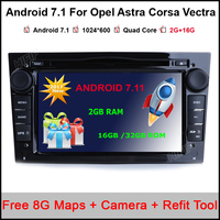 2 Din Android 7.11 For Opel Astra HJG Steering Wheel Car DVD Player Multimedia HD1080P Wifi 3G Bluetooth OBD2 USB SD TV AUX