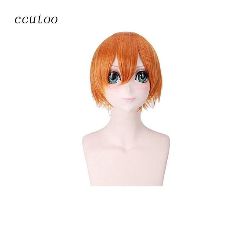 """Bellissimo Ccutoo Love Live! Rin Hoshizora 11.8 """"/30 Cm Arancione Breve Rettilineo Fluffy Layered Capelli Sintetici Cosplay Completa Parrucche"""