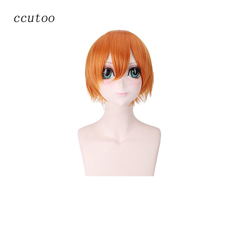 ccutoo Love Live! Rin Hoshizora 11.8/30cm Orange Short Straight Fluffy Layered Synthetic Hair Cosplay Full Wigs