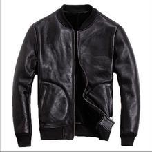Free shipping.Classic sheepskin leather jacket.Brand new sheep shearling coat.me