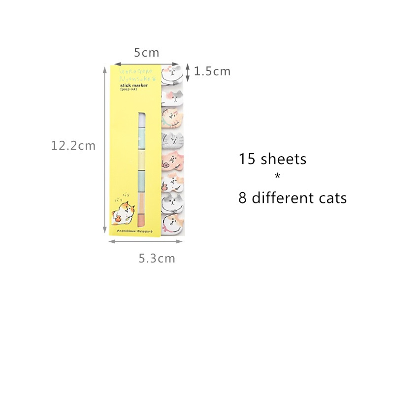 4 pcs Cute cat sticky note set Mini index sticker for diary planner agenda memo Bookmarks Office tools School supplies A6881 Islamabad