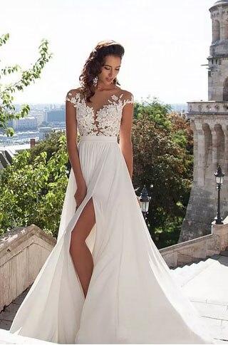 Elegante Chiffon Brautkleider Nach Maß Brautkleid Vestido de novia ...