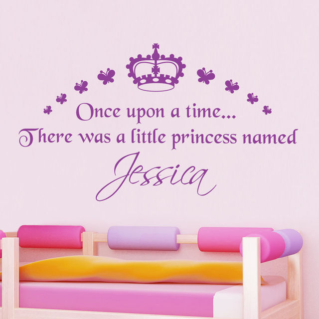 Hwhd personalised girls princess wall sticker crown butterfly decal vinyl transfer os1531 free shipping