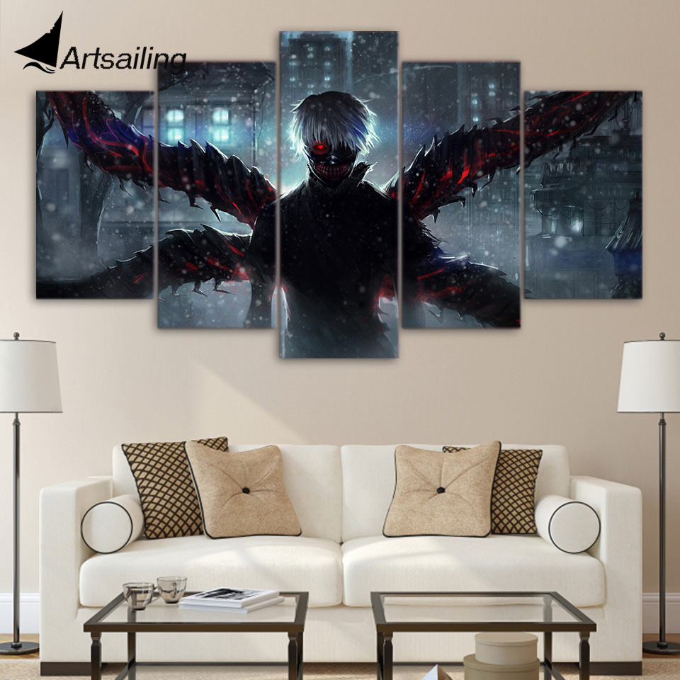 ArtSailing 5 Piece Canvas Art HD Print Tokyo Ghoul Ken Kaneki Paintings Home Decoration  Wall Pictures For Living Room UP-2108C