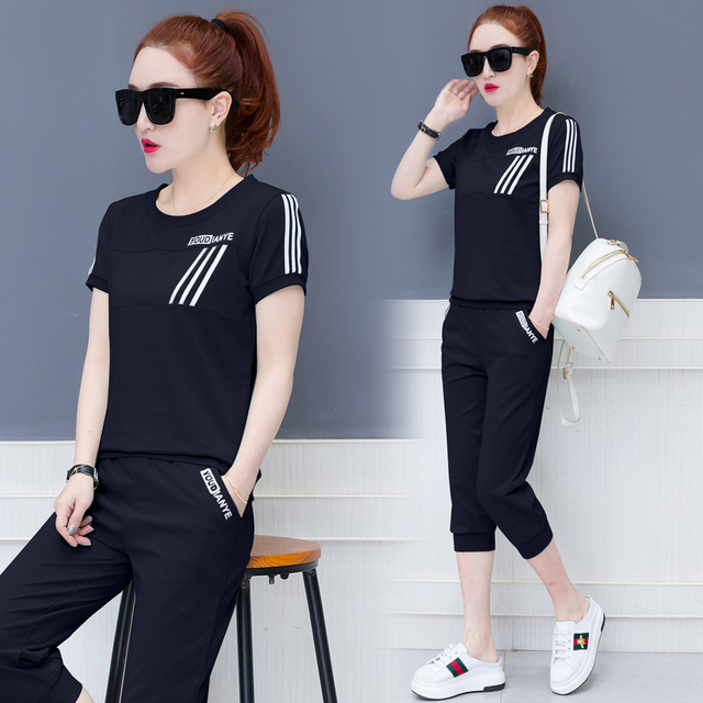 696dccf5e51e7 Special Offers Black Tracksuits 2 Piece Set Women Outfit Sportswear Co-ord  Set Plus Size Pant Suits and Top 2019 Summer White 2 pcs Clothing