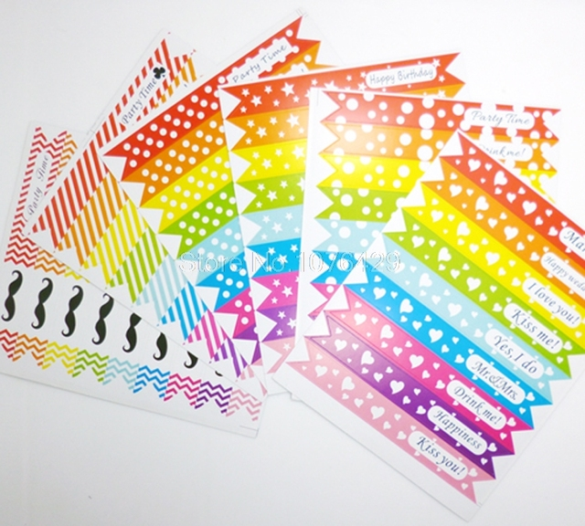 54 pcs 6 page colorful flag label stickers for straw cupcake baking decoration package sealing