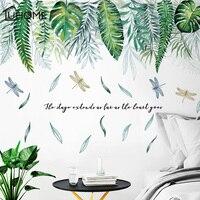 DIY Зеленый лист летящая Стрекоза наклейки на стену 111*76 см искусство украшение дома гостиная указатели на двери плакаты