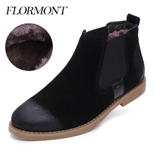 2017 Spring Men Boots Cow Suede Fur Winter Footwear Snow Boots Leather Slip-On Ankle Short Chelsea Boots Men Shoes Casual Flats