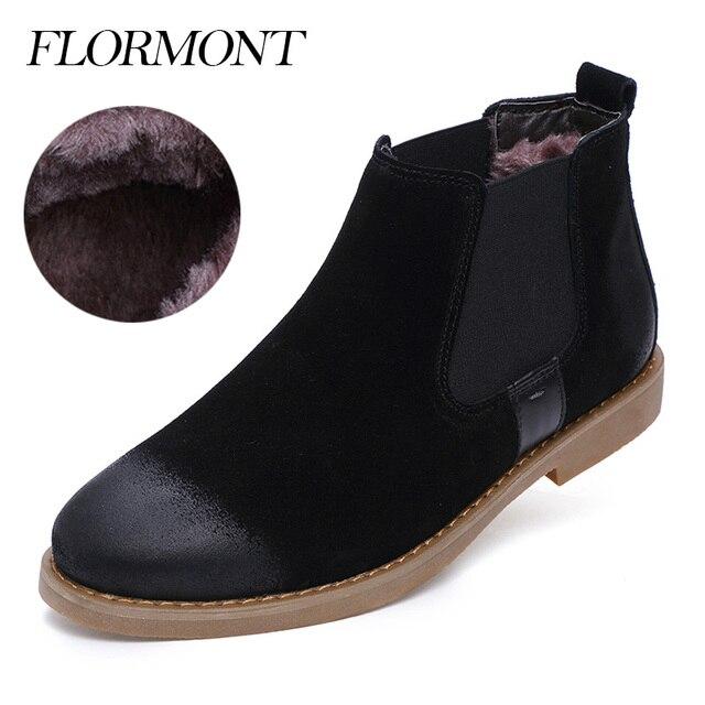 Autumn Men Boots Genuine Leather Suede Fur Winter Footwear Snow Boots Slip On Ankle Short Chelsea Boots Men Casual Shoes Flats