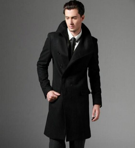 Black grey casual long sleeve wool coat men 2017 jackets and coats male mens wool overcoats